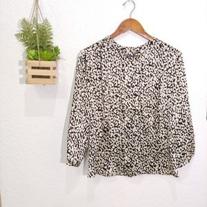 J.Crew animal print silk button back blouse size 6